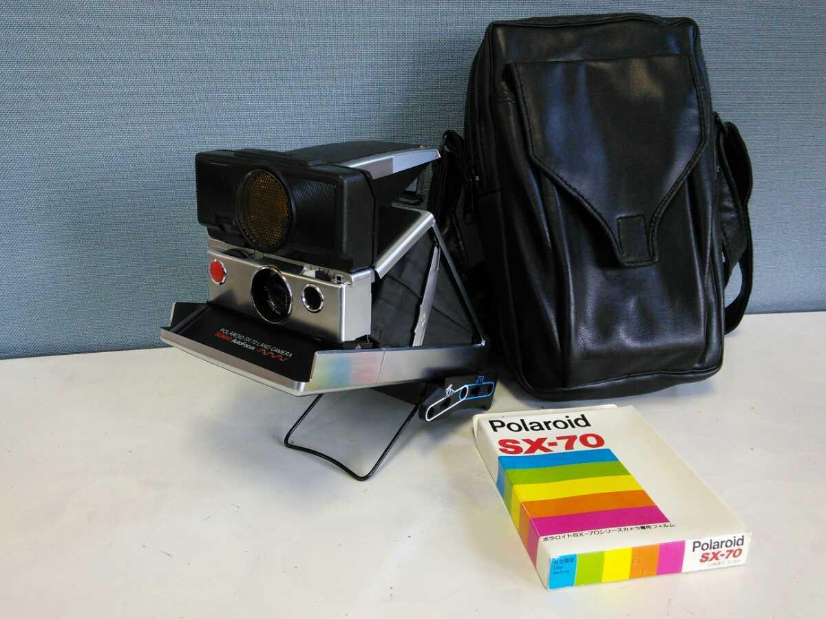 221k 昭和レトロ 中古 Polaroid SX-70 LAND Camera スタンド ソフトキャリーバッグ 専用フィルム付き ポラロイドカメラ アンティーク当時物