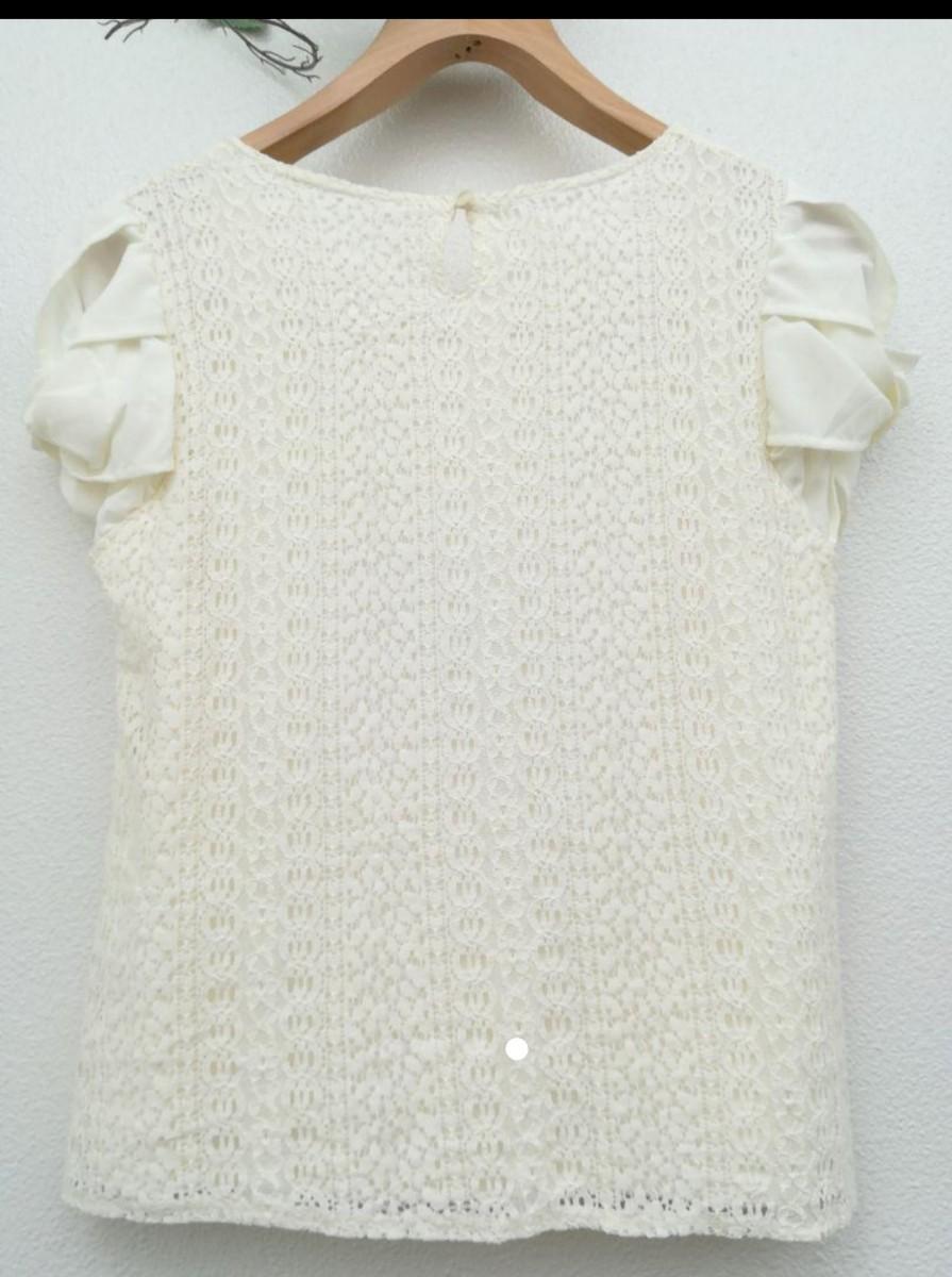 Vis/半袖/Tシャツ/トップス/カットソー/ レース/パフスリーブ