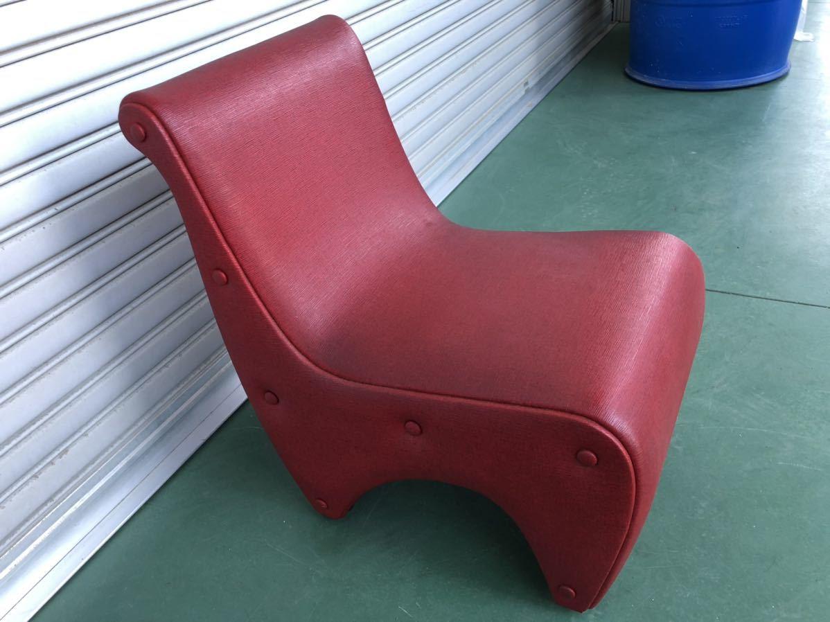 ■昭和レトロ当時物貴重!!!!赤レッド色お洒落オシャレデザイン椅子いすイス☆アンティーク