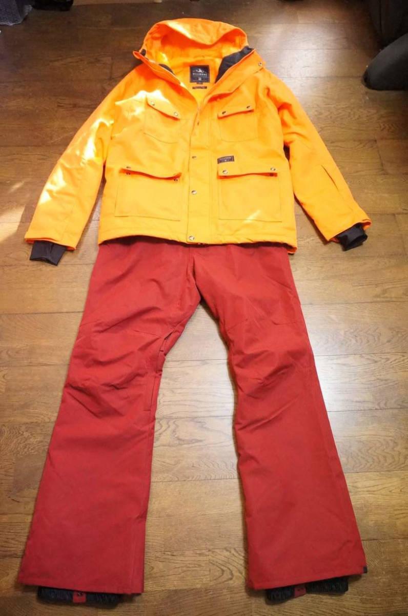男性用 Billabong ビラボン スノーボードウエア ワーキングジャケット F6JM07 + Billabong ローダウンパンツ F6PM01 上下セット中古美品_画像1