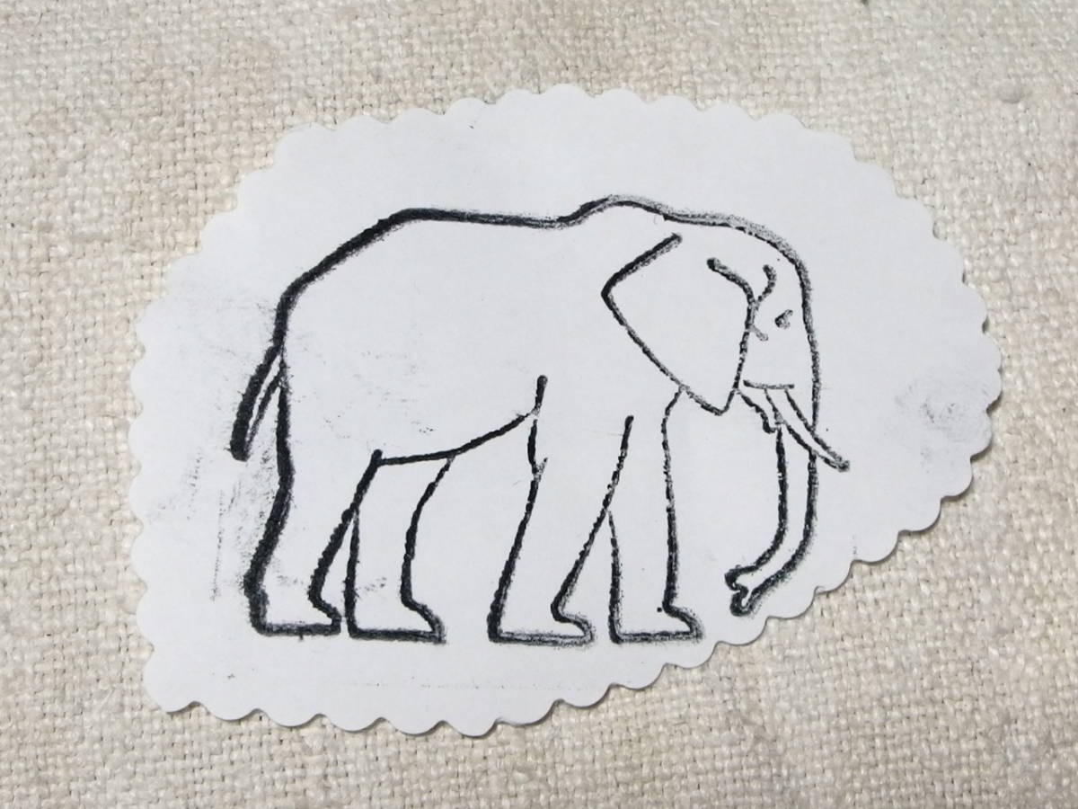 フランスアンティーク スタンプ 象 ぞう 動物 輸入 ラバー 6センチ×6センチ_画像3