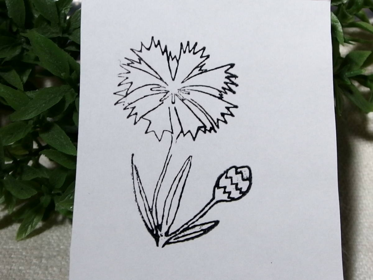 フランスアンティーク スタンプ  撫子 花 フラワー 輸入 ラバー  5センチ×5センチ_画像3