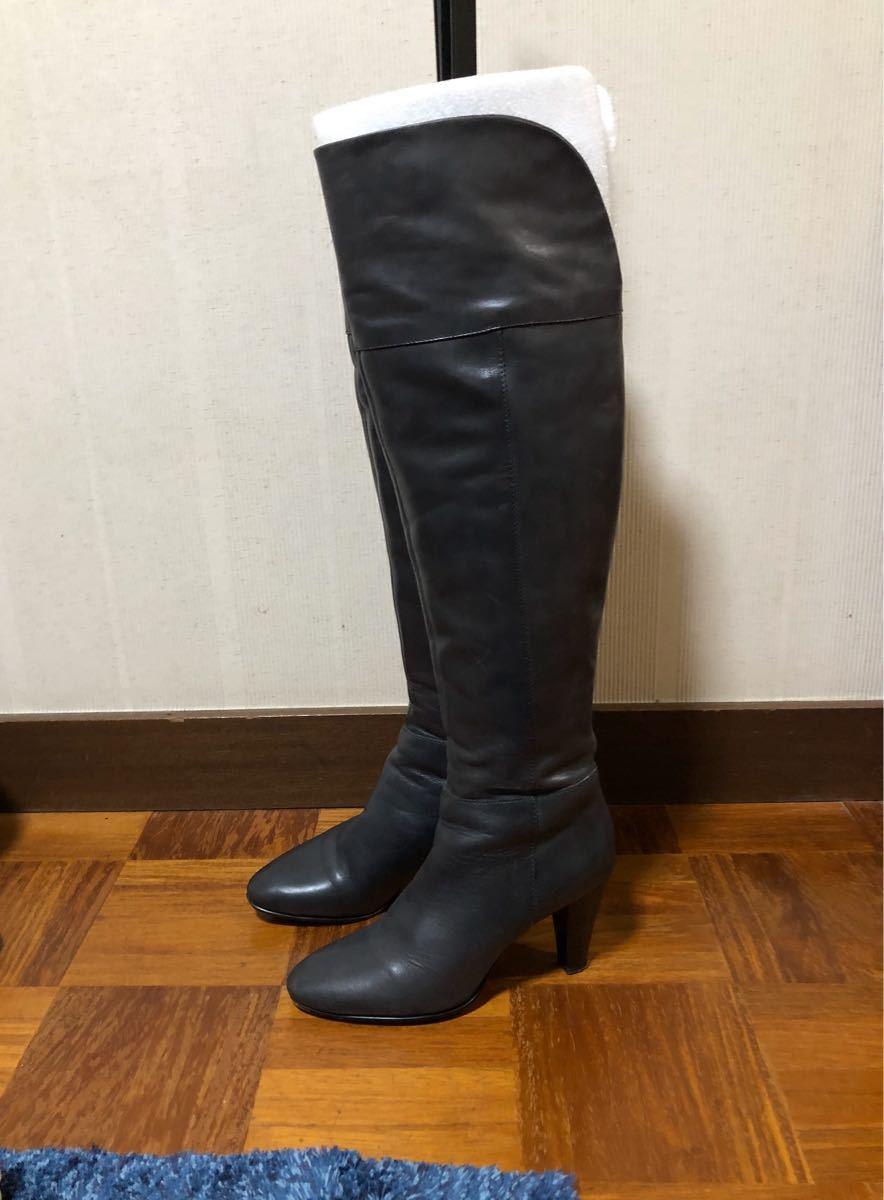 本革 レザー ブーツ レディース グレー