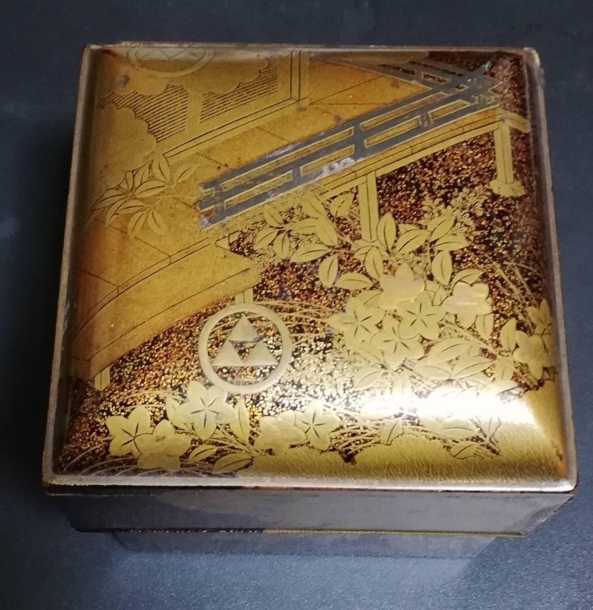 時代漆器 本金蒔絵小箱 鎌倉北条氏 丸に三つ鱗紋 家紋 煎茶道具 古美術品 香道具_画像2
