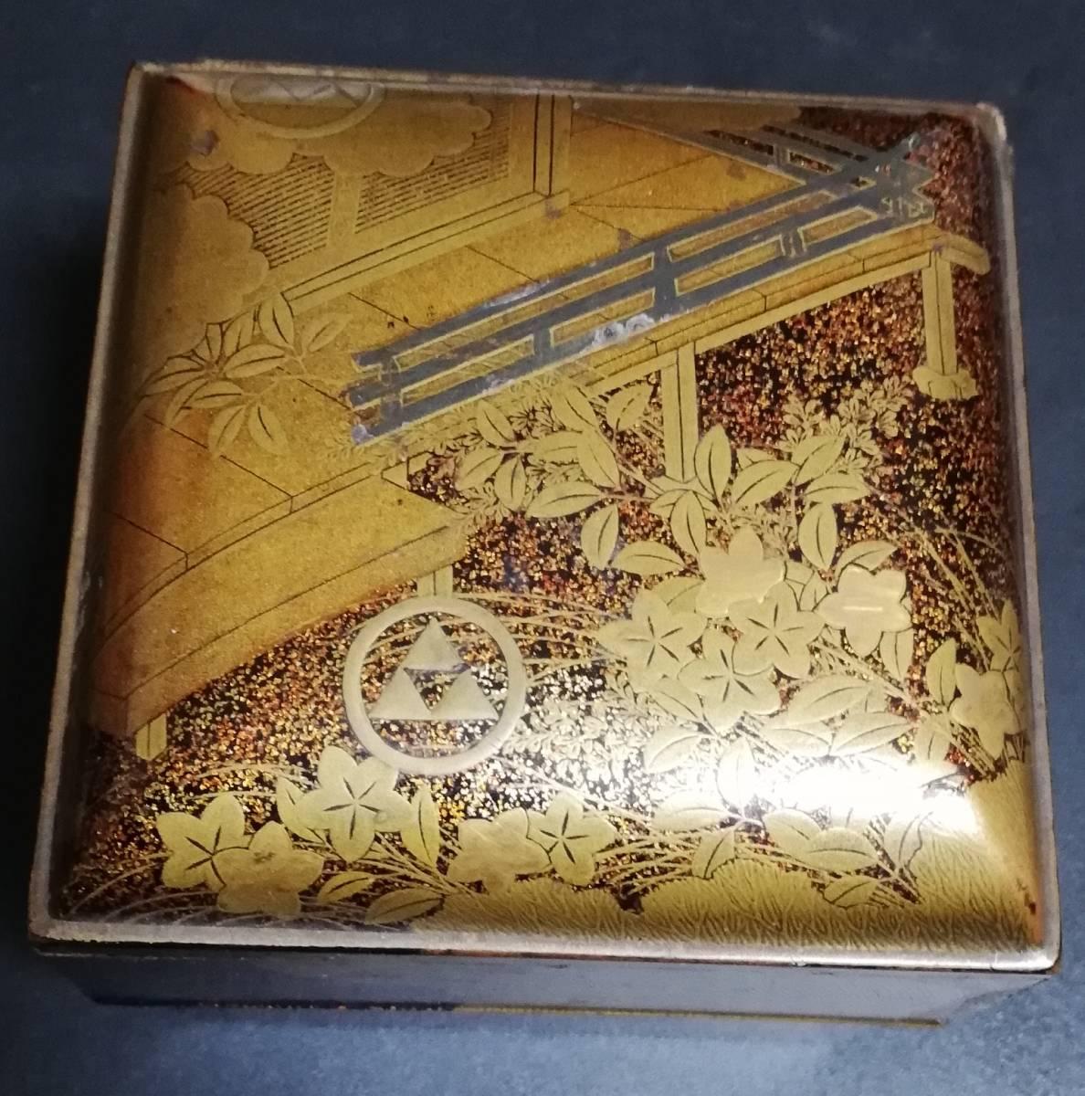 時代漆器 本金蒔絵小箱 鎌倉北条氏 丸に三つ鱗紋 家紋 煎茶道具 古美術品 香道具_画像3