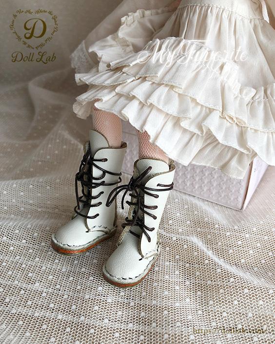 ドール靴 編み上げロングブーツ 【ホワイト】【ブライス、ピュアニーモS,XS】1/6 カスタムブライスに