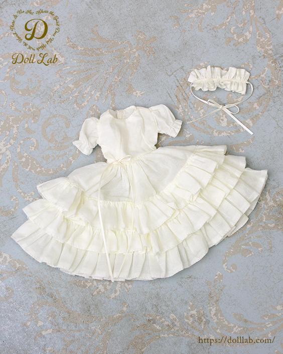 ドール 服【ホワイト・白】襟付きドレス♪【ブライス】1/6 カスタムブライスに アウトフィット