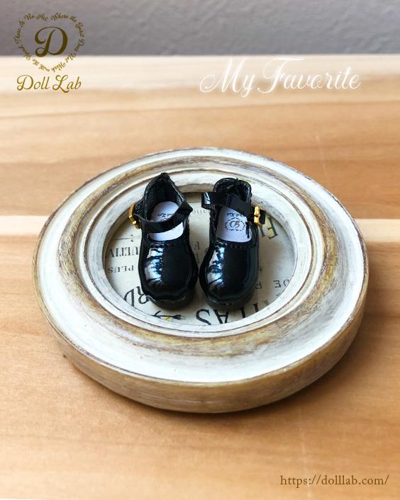 ドール靴 エナメルシューズ(おでこ靴)D2006【ブラック・黒】【ブライス、ピュアニーモS,XS】1/6 カスタムブライスに