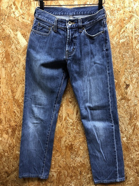 UNIQLO ユニクロ サイズ表記『61cm』 レディース デニム パンツ 無地 ストレート ジーンズ ロング ジップフライ 綿100% ブルー 青_画像1