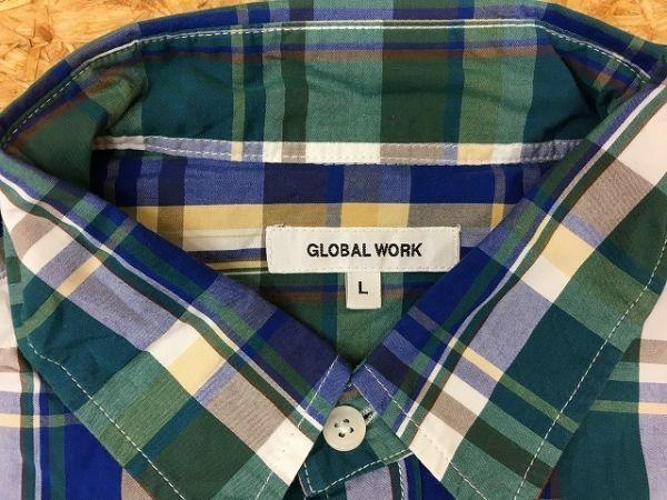 GLOBAL WORK グローバルワーク Lサイズ メンズ 薄手 シャツ チェック柄 胸ポケット 半端袖 レギュラーカラー 綿100% 緑×青×黄色_画像2