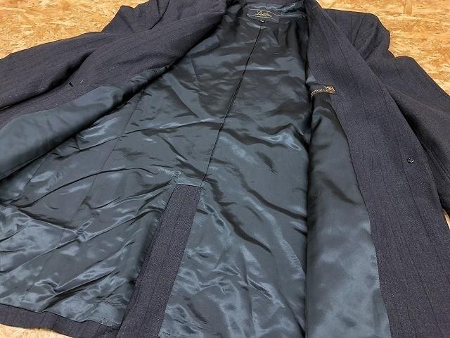 Leilian レリアン サイズ11 レディース テーラードジャケット ノッチドラペル ストライプ キュプラ裏地 総裏地 センターベント 長袖 グレー_画像6