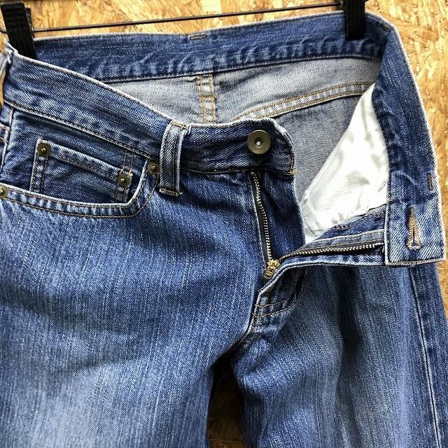 UNIQLO ユニクロ サイズ表記『61cm』 レディース デニム パンツ 無地 ストレート ジーンズ ロング ジップフライ 綿100% ブルー 青_画像3