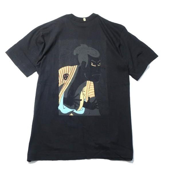 古着好き必見の和モノ! 90s 歌舞伎 KABUKI 東洲斎写楽 浮世絵 ロゴ プリント 袖シングル 半袖 Tシャツ ブラック 黒 Lサイズ メンズ