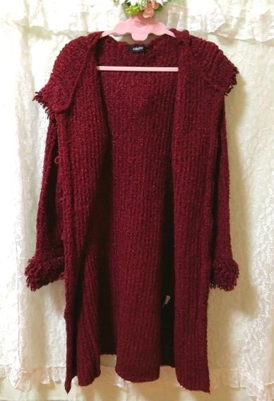 赤紫ワインレッドニットフード上着カーディガンコート Red purple wine red knit hood outerwear cardigan coat_画像5