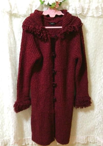 赤紫ワインレッドニットフード上着カーディガンコート Red purple wine red knit hood outerwear cardigan coat_画像3