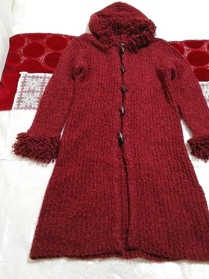 赤紫ワインレッドニットフード上着カーディガンコート Red purple wine red knit hood outerwear cardigan coat_画像1