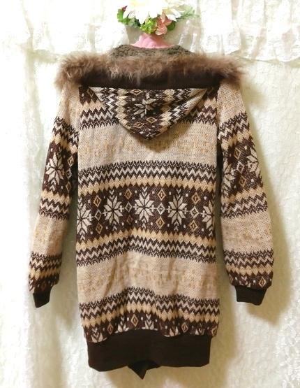 亜麻色ブラウンニットフードラクーンファーボンボン上着カーディガン Flax color brown knit food raccoon fur bonbon jacket cardigan_画像4