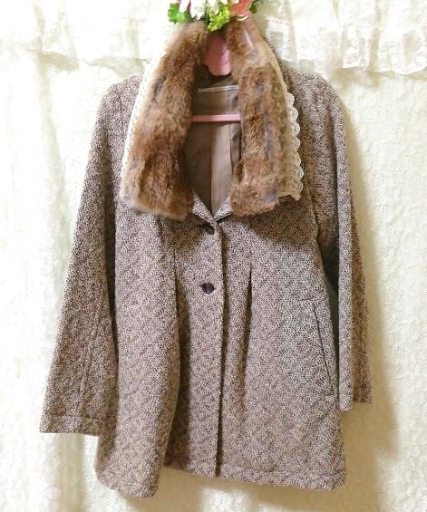 グレーラビットファー白レースニットコート Gray rabbit fur white lace knit coat_画像3