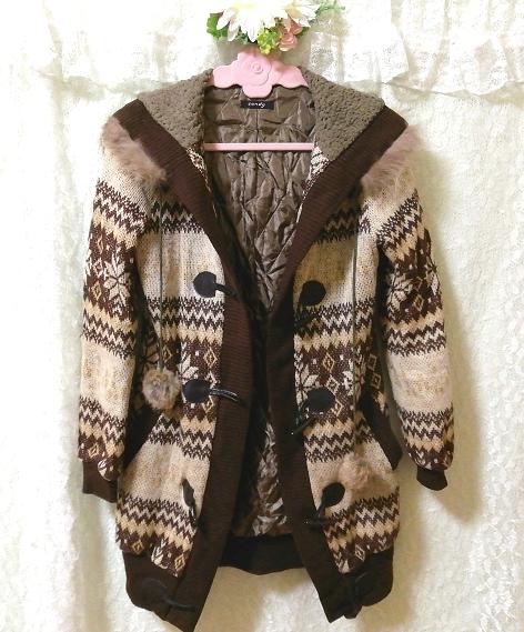 亜麻色ブラウンニットフードラクーンファーボンボン上着カーディガン Flax color brown knit food raccoon fur bonbon jacket cardigan_画像5