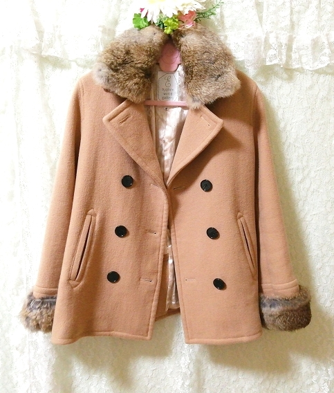 hyphen world gallery 亜麻色ラビットファーコート Flax color rabbit fur coat_画像3