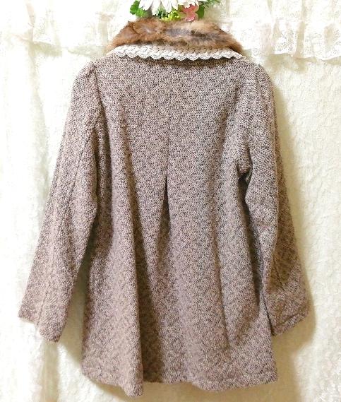 グレーラビットファー白レースニットコート Gray rabbit fur white lace knit coat_画像5