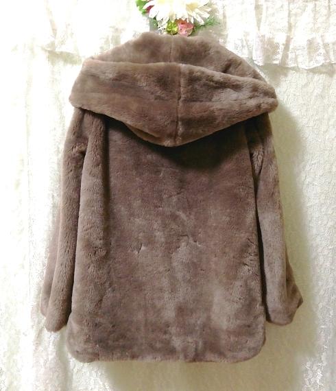 ローズグレイもこもこブラウンフードコート Rose gray fluffy brown food coat_画像3