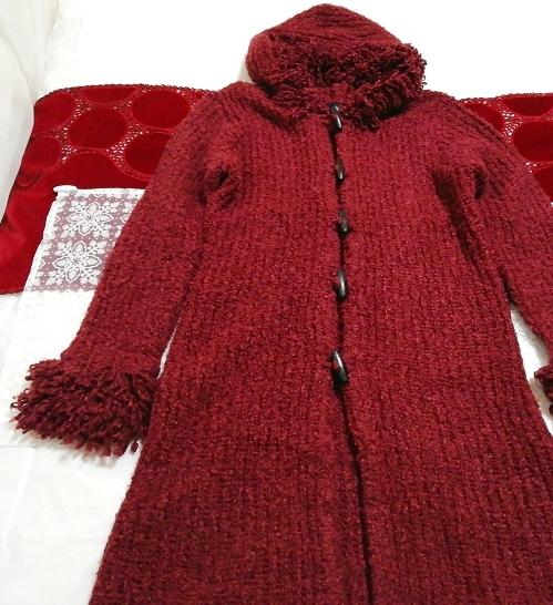赤紫ワインレッドニットフード上着カーディガンコート Red purple wine red knit hood outerwear cardigan coat_画像2