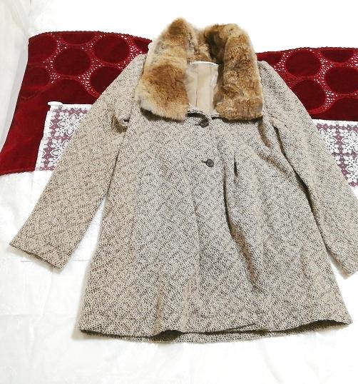 グレーラビットファー白レースニットコート Gray rabbit fur white lace knit coat_画像1