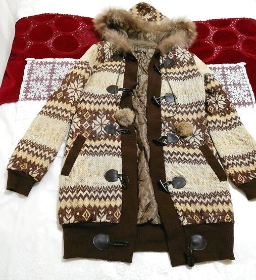 亜麻色ブラウンニットフードラクーンファーボンボン上着カーディガン Flax color brown knit food raccoon fur bonbon jacket cardigan_画像1