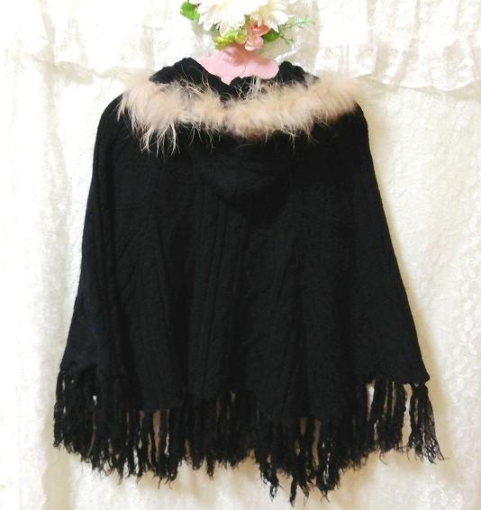 CECIL McBEE セシルマクビー 黒ラクーンファーフードポンチョセーターカーディガン Black Raccoon Fur Hood Poncho Sweater Cardigan_画像4
