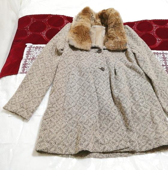 グレーラビットファー白レースニットコート Gray rabbit fur white lace knit coat_画像2