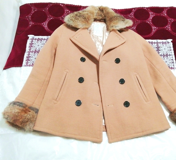 hyphen world gallery 亜麻色ラビットファーコート Flax color rabbit fur coat_画像1