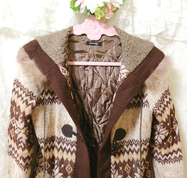 亜麻色ブラウンニットフードラクーンファーボンボン上着カーディガン Flax color brown knit food raccoon fur bonbon jacket cardigan_画像7