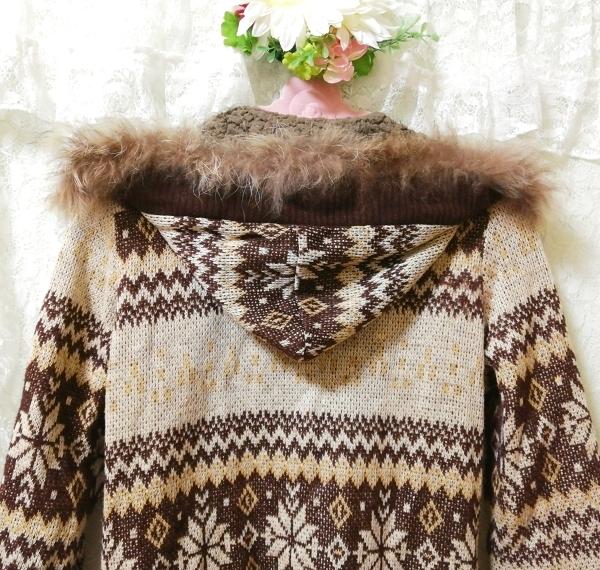 亜麻色ブラウンニットフードラクーンファーボンボン上着カーディガン Flax color brown knit food raccoon fur bonbon jacket cardigan_画像8