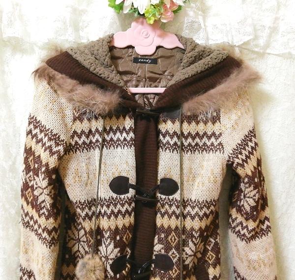 亜麻色ブラウンニットフードラクーンファーボンボン上着カーディガン Flax color brown knit food raccoon fur bonbon jacket cardigan_画像6
