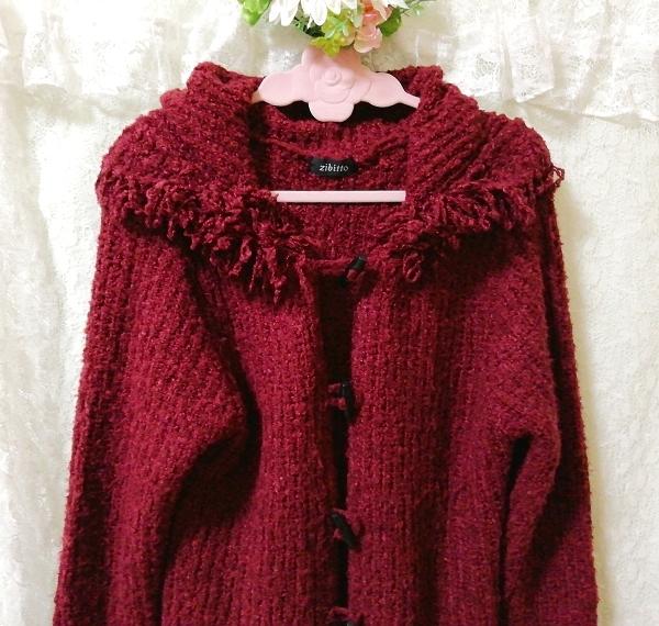 赤紫ワインレッドニットフード上着カーディガンコート Red purple wine red knit hood outerwear cardigan coat_画像6