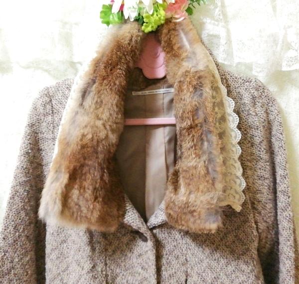 グレーラビットファー白レースニットコート Gray rabbit fur white lace knit coat_画像6
