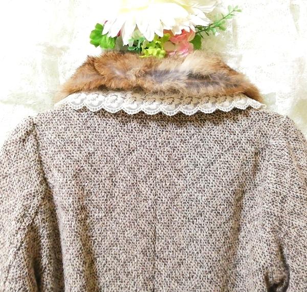 グレーラビットファー白レースニットコート Gray rabbit fur white lace knit coat_画像7