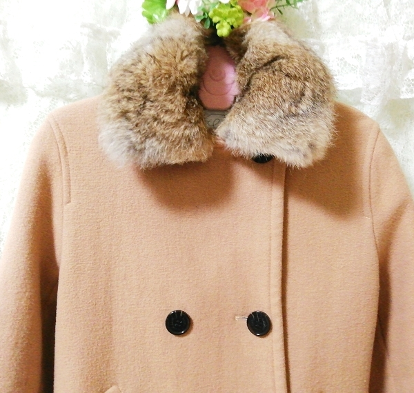 hyphen world gallery 亜麻色ラビットファーコート Flax color rabbit fur coat_画像5