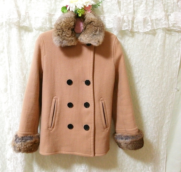 hyphen world gallery 亜麻色ラビットファーコート Flax color rabbit fur coat_画像2