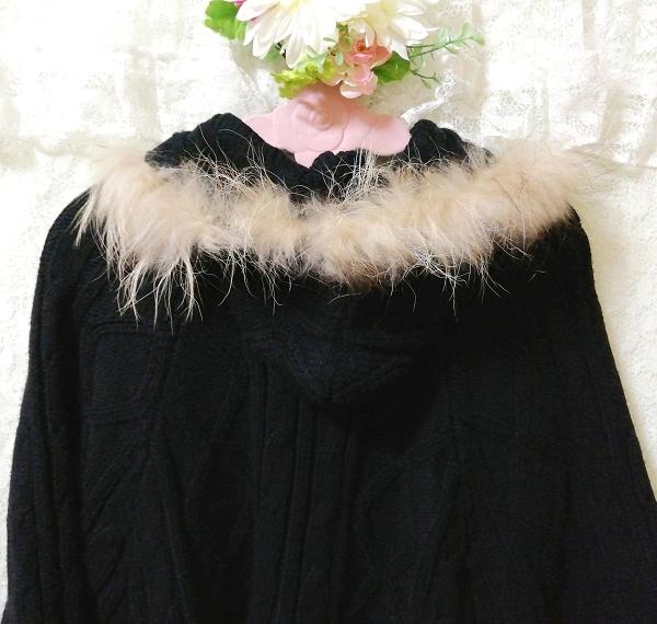 CECIL McBEE セシルマクビー 黒ラクーンファーフードポンチョセーターカーディガン Black Raccoon Fur Hood Poncho Sweater Cardigan_画像6