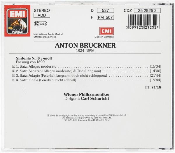 EMI初期西独盤/難あり ブルックナー:交響曲第8番 カール・シューリヒト指揮/ウィーン・フィルハーモニー管弦楽団_画像2