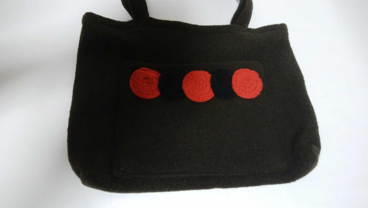 再々値下げ!未使用!手提げカバン エコバッグ トートバッグ ハンドメイド 厚手生地に毛糸のデザインが可愛い 濃焦げ茶色 29×40×6_画像3