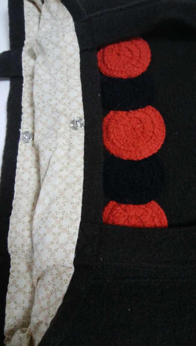 再々値下げ!未使用!手提げカバン エコバッグ トートバッグ ハンドメイド 厚手生地に毛糸のデザインが可愛い 濃焦げ茶色 29×40×6_画像4