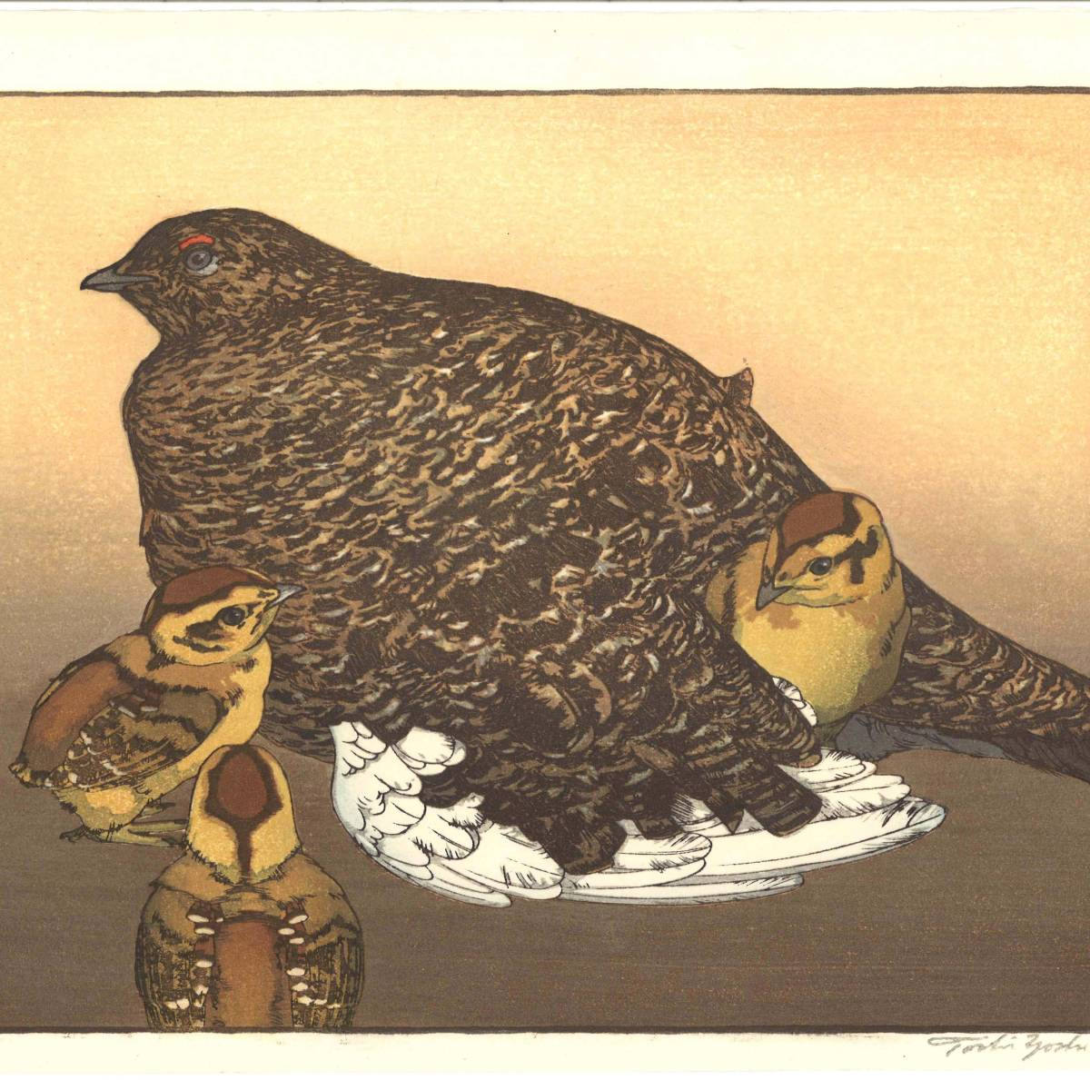 吉田遠志 木版画 013001 雷鳥 (Raicho) 初摺1930年 初期の頃の作品!!  最高峰の摺師の技をご堪能下さい!!_画像3