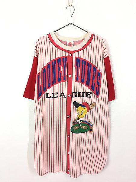 レディース 古着 90s Jhoto all Tolkr! LOONEY TUNES TWEETY トゥイーティー キャラクター ベースボール ロング丈 Tシャツ XL位 古着_画像1
