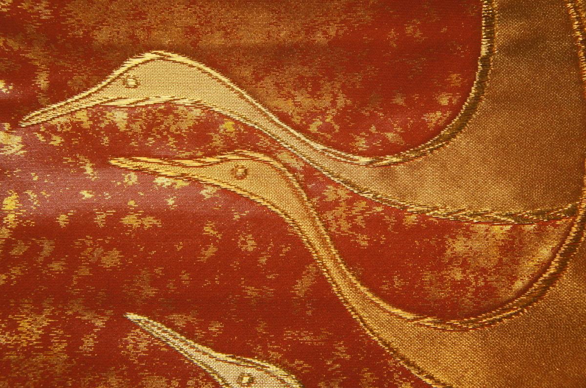 特選『紫紘』手織赤蘇芳色金引箔地飛鶴文未着用袋帯O12118_特選紫紘手織赤蘇芳色金引箔地飛鶴文袋帯