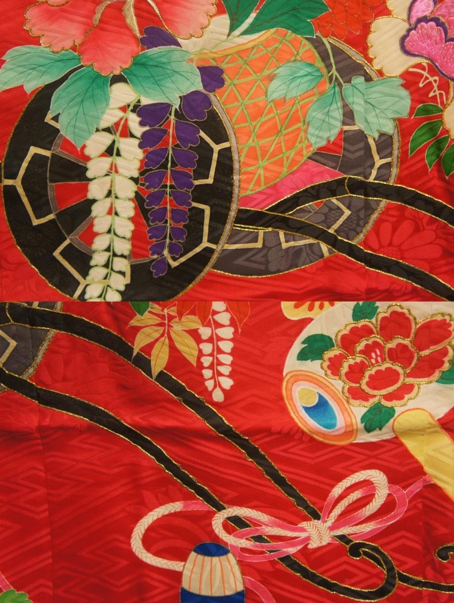 アンティーク猩紅色花車模様刺繍入り一ツ紋袖無羽織A12146_猩紅色花車模様刺繍入り一ツ紋袖無羽織