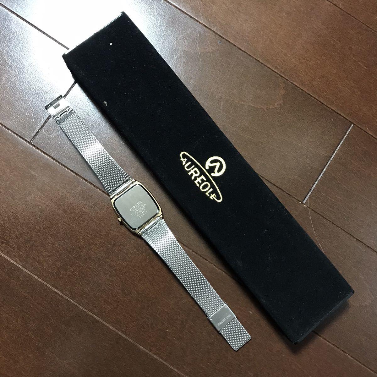 スイス AUREOLE メンズ クォーツ 腕時計 ジャンク品 送料無料_画像2