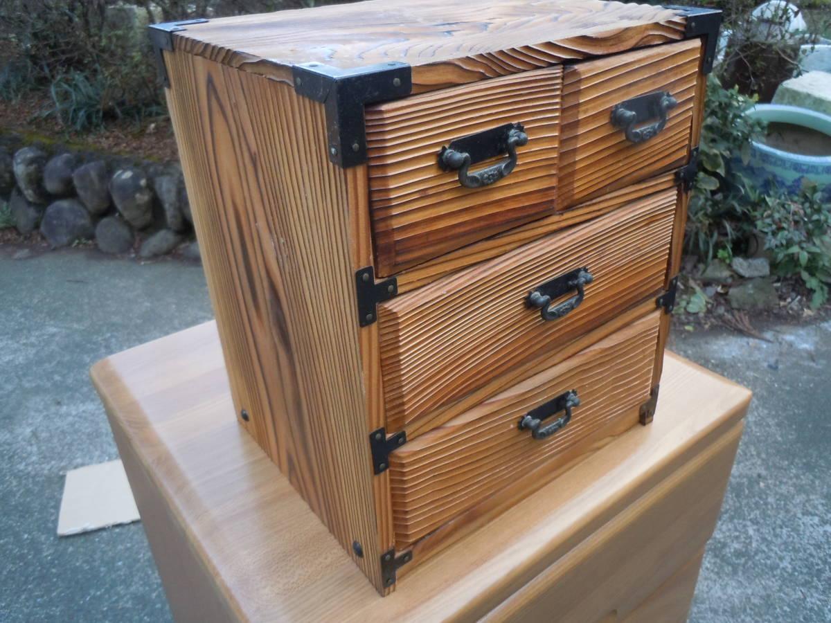 【20M09】昭和レトロ 杉 焼杉 小物入れ  整理箱  小物収納 抽斗 引き出し 【幅24㎝×奥20cm×高さ28㎝】_画像2